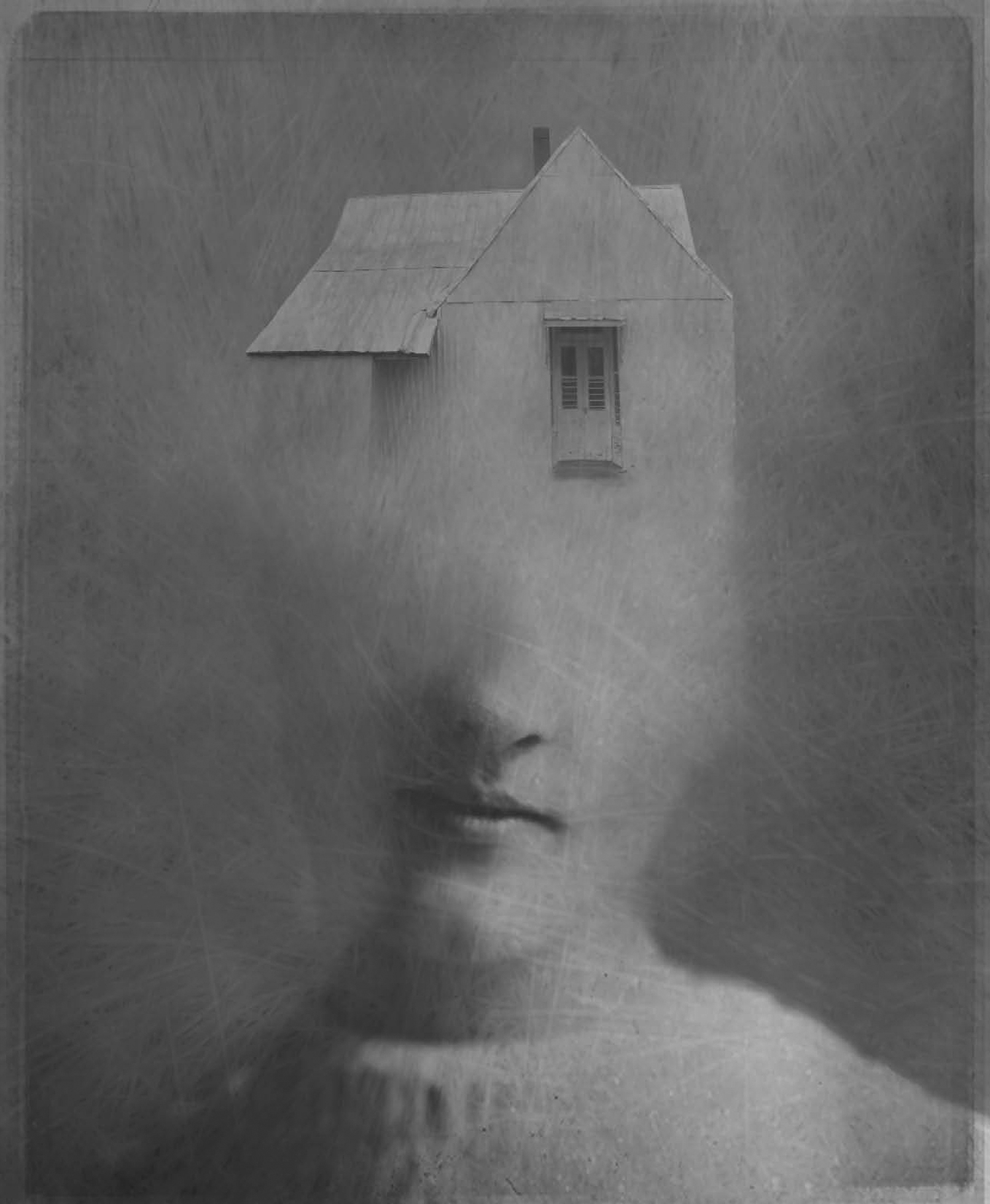 A digitally manipulated photo of a house that morphs into a person's face. The top of the head is a house and it seamlessly flows into a nose, mouth, and chin of a somber-expressioned person.