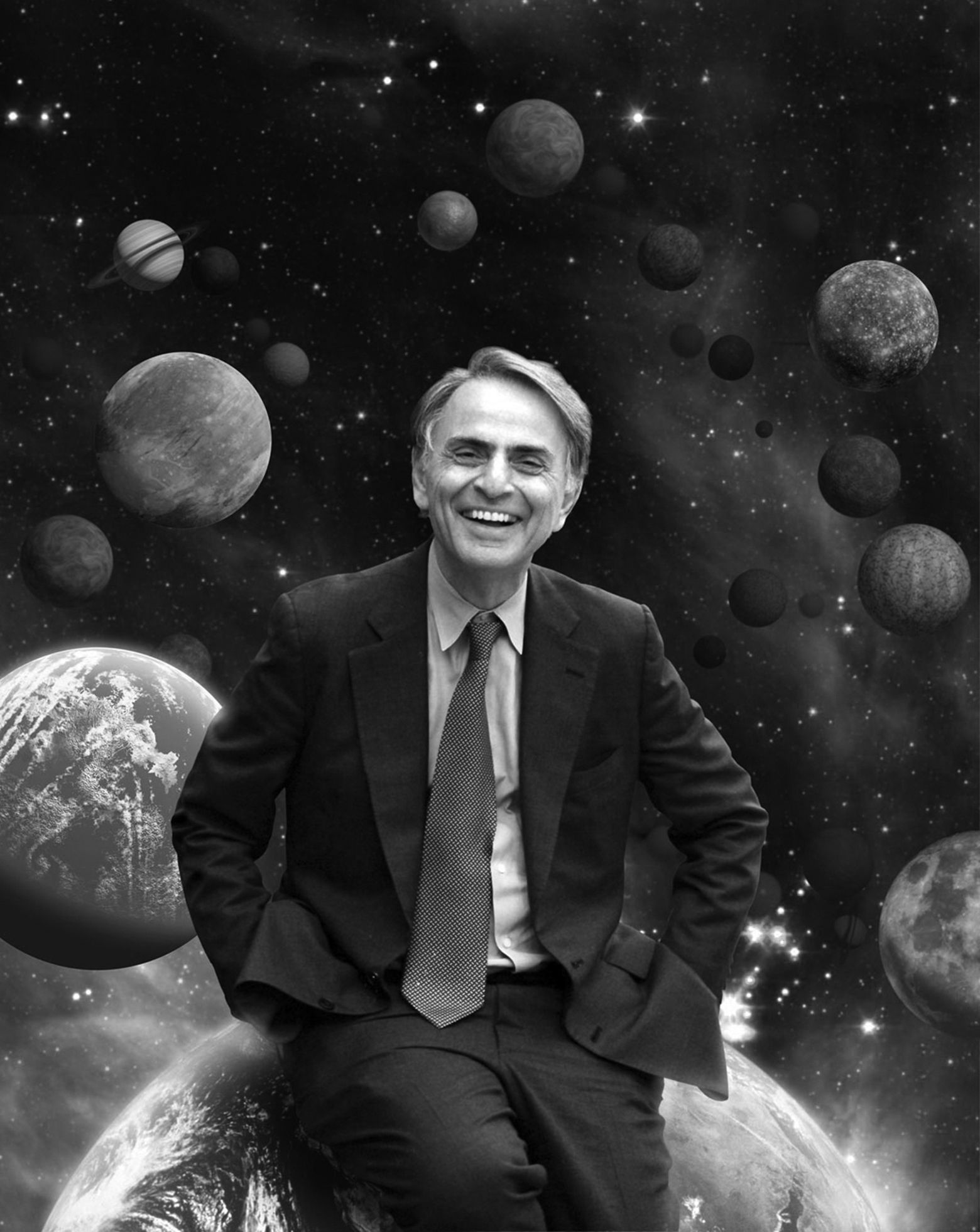 Carl Sagan smiles widely as he sits on Earth with the other planets and stars of the solar system in the background.