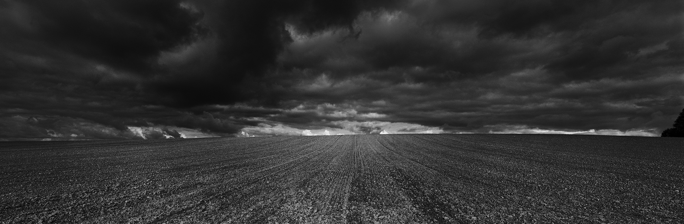 A wide-angle shot of a farm field and the vast sky full of dark clouds.