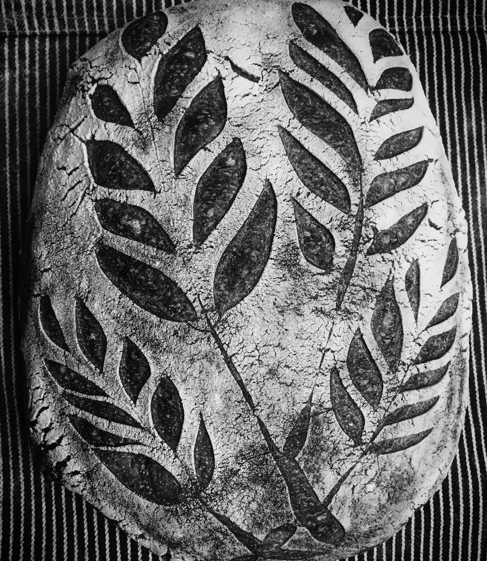 An artisan loaf of bread with stenciled leaves on the crust.