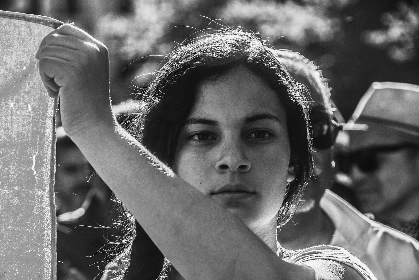 A girl takes part in a Roma community march in Madrid, Spain, May 2019.